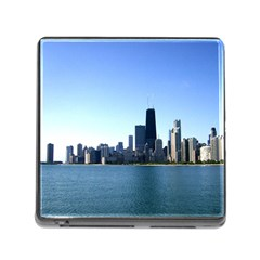 Chicago Skyline Memory Card Reader With Storage (square) by canvasngiftshop