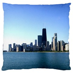Chicago Skyline Large Cushion Case (one Side) by canvasngiftshop