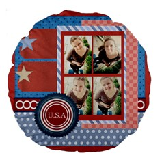 Usa 4 July By Usa   Large 18  Premium Round Cushion    Rv3e7omb0cwd   Www Artscow Com Back