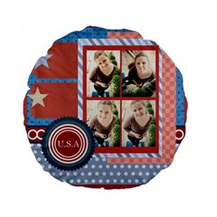 Usa 4 July By Usa   Standard 15  Premium Round Cushion    Frwn0b773205   Www Artscow Com Front
