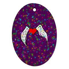 Your Heart Has Wings So Fly   Updated Oval Ornament (two Sides)