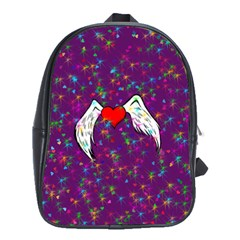 Your Heart Has Wings So Fly   Updated School Bag (large) by KurisutsuresRandoms