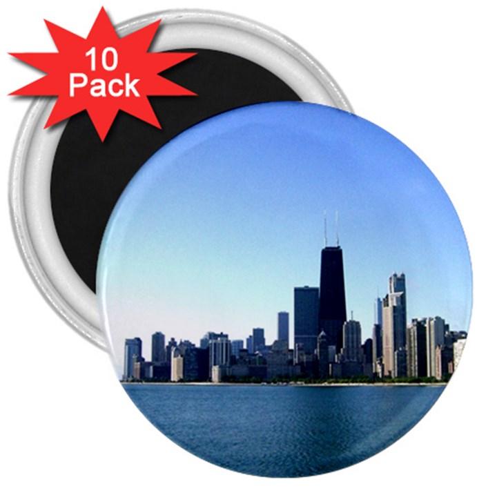 Chicago Skyline 3  Button Magnet (10 pack)