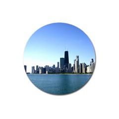 Chicago Skyline Magnet 3  (round) by canvasngiftshop