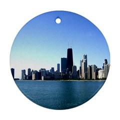 Chicago Skyline Round Ornament by canvasngiftshop
