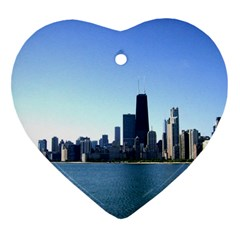Chicago Skyline Heart Ornament (two Sides) by canvasngiftshop