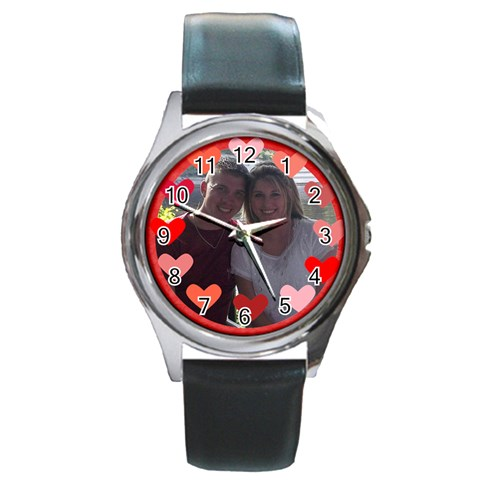 Circle Of Hearts Watch By Joy Johns   Round Metal Watch   Yzp7qvqnt5jn   Www Artscow Com Front
