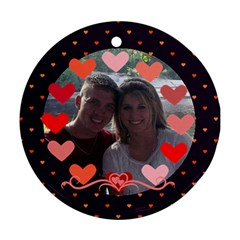 Circle Of Hearts Ornament 2 By Joy Johns   Round Ornament (two Sides)   Mr1j5yvq5gek   Www Artscow Com Front