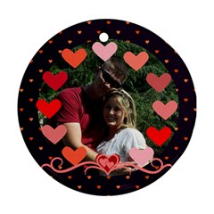 Circle Of Hearts Ornament 2 By Joy Johns   Round Ornament (two Sides)   Mr1j5yvq5gek   Www Artscow Com Back