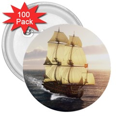 French Warship 3  Button (100 Pack) by gatterwe