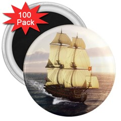 French Warship 3  Button Magnet (100 Pack) by gatterwe