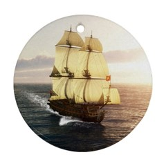 French Warship Round Ornament by gatterwe