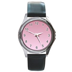 Puce To Pink Lace Gradient Round Metal Watch (silver Rim) by BestCustomGiftsForYou