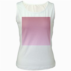 Puce To Pink Lace Gradient Womens  Tank Top (white)