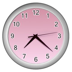 Puce To Pink Lace Gradient Wall Clock (silver) by BestCustomGiftsForYou