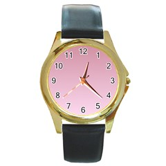 Puce To Pink Lace Gradient Round Metal Watch (gold Rim)  by BestCustomGiftsForYou