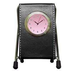 Puce To Pink Lace Gradient Stationery Holder Clock by BestCustomGiftsForYou