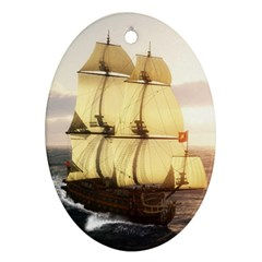 French Warship Oval Ornament
