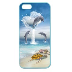 The Heart Of The Dolphins Apple Seamless Iphone 5 Case (color) by gatterwe