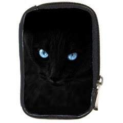 Black Cat Compact Camera Leather Case by cutepetshop