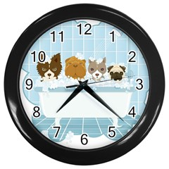 Dogs In Bath Wall Clock (black) by cutepetshop
