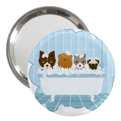 Dogs In Bath 3  Handbag Mirror by cutepetshop