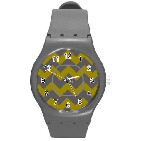 Gray/yellow Chevron Sport Watch By Amanda Bunn   Round Plastic Sport Watch (m)   V90vi979zmal   Www Artscow Com Front