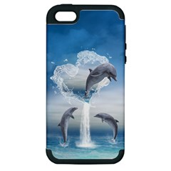 The Heart Of The Dolphins Apple Iphone 5 Hardshell Case (pc+silicone) by gatterwe
