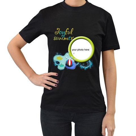 Joyful Summer Women T Shirt By Zornitza   Women s T Shirt (black)   2fmeewaqft3k   Www Artscow Com Front