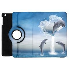 The Heart Of The Dolphins Apple iPad Mini Flip 360 Case by gatterwe