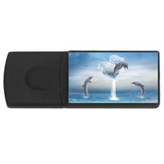 The Heart Of The Dolphins 4gb Usb Flash Drive (rectangle) by gatterwe