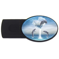 The Heart Of The Dolphins 4gb Usb Flash Drive (oval) by gatterwe