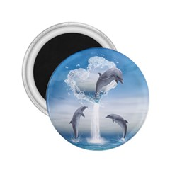 The Heart Of The Dolphins 2 25  Button Magnet by gatterwe