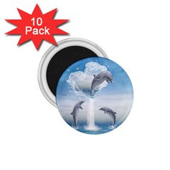 The Heart Of The Dolphins 1 75  Button Magnet (10 Pack) by gatterwe