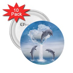 The Heart Of The Dolphins 2 25  Button (10 Pack) by gatterwe