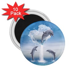 The Heart Of The Dolphins 2 25  Button Magnet (10 Pack) by gatterwe