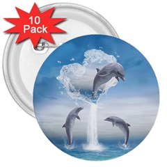 The Heart Of The Dolphins 3  Button (10 Pack) by gatterwe