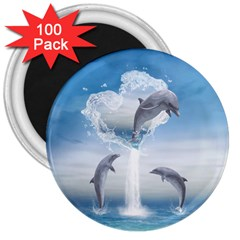 The Heart Of The Dolphins 3  Button Magnet (100 Pack) by gatterwe