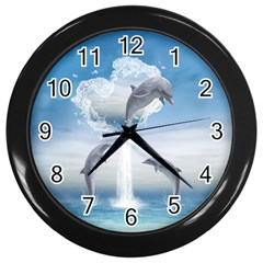The Heart Of The Dolphins Wall Clock (black) by gatterwe