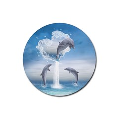The Heart Of The Dolphins Drink Coasters 4 Pack (round)