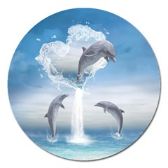 The Heart Of The Dolphins Magnet 5  (round) by gatterwe
