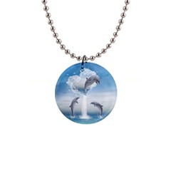 The Heart Of The Dolphins Button Necklace by gatterwe
