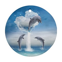 The Heart Of The Dolphins Round Ornament (two Sides)