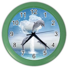 The Heart Of The Dolphins Wall Clock (color) by gatterwe