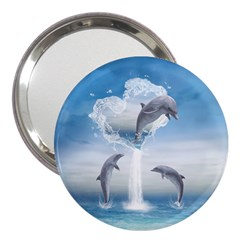 The Heart Of The Dolphins 3  Handbag Mirror by gatterwe