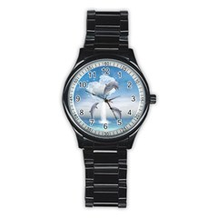 The Heart Of The Dolphins Sport Metal Watch (black) by gatterwe