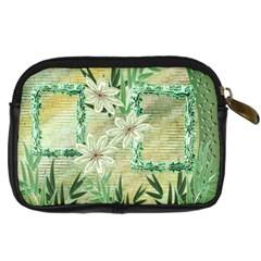 Aqua Blue Green Floras Digital Camera Case By Ellan   Digital Camera Leather Case   041q8ddvk7h6   Www Artscow Com Back