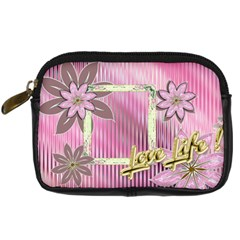 Love Life Pink Floral Digital Camera Case By Ellan   Digital Camera Leather Case   3wzj37nvpjbi   Www Artscow Com Front