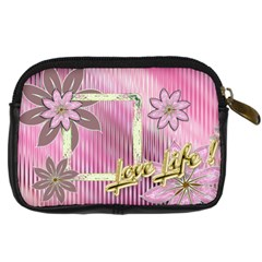 Love Life Pink Floral Digital Camera Case By Ellan   Digital Camera Leather Case   3wzj37nvpjbi   Www Artscow Com Back