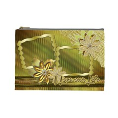 Gold Love Floral Cosmetic Bag Lg By Ellan   Cosmetic Bag (large)   Ux27p6a0zlxc   Www Artscow Com Front